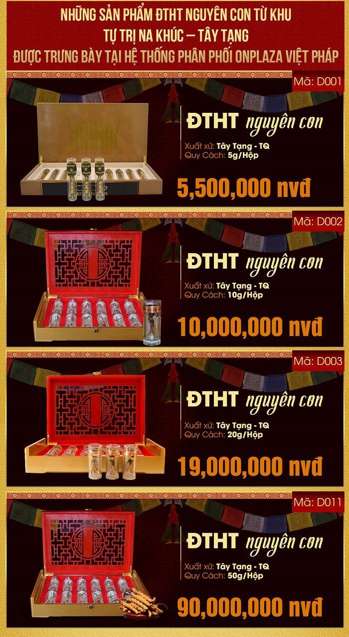 Giá một số sản phẩm dtht nguyên con tại Cửa hàng Đông trùng hạ thảo Onplaza